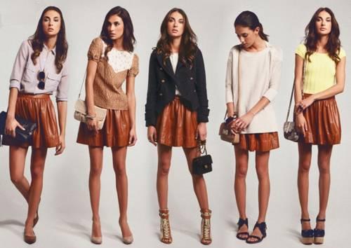 С чем одеть коричневую кожаную юбку