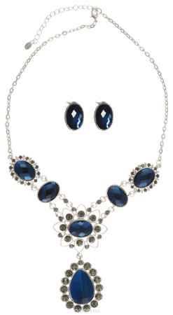 Купить Комплект украшений Taya: колье, серьги, цвет: серебристый, темно-синий. T-B-10372