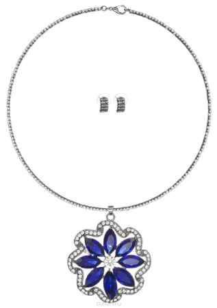 Купить Комплект украшений Fashion House: колье, серьги, цвет: синий, белый, серебряный. FH33047