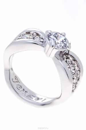 Купить Кольцо Jenavi Коллекция Teona Яльба, цвет: серебряный, белый. f425f0a0. Размер 16