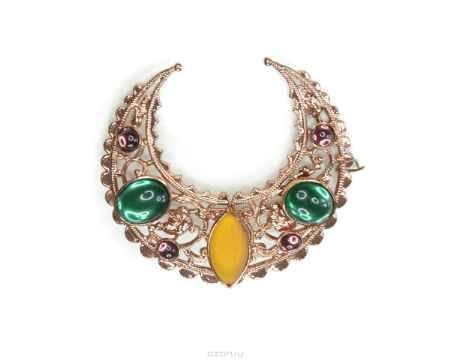Купить Брошь Bohemia Style, цвет: золотой, горчичный, изумрудный, фиолетовый. 7460 2149 00