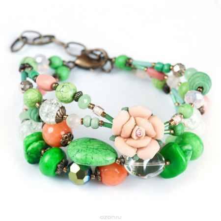 Купить Браслет женский Selena Роман с камнем Флер, цвет: зеленый, оранжевый, розовый. 40058740