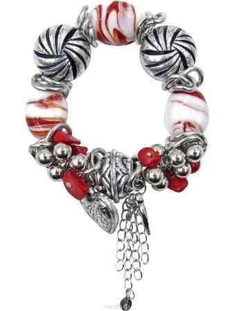 Купить Браслет Taya, цвет: серебристый, красный, белый, оранжевый. T-B-10343