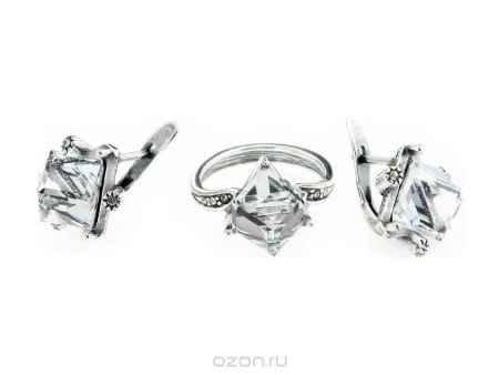 Купить Набор Jenavi Коллекция Леди Египет, цвет: серебряный, белый. d3383200. Размер 1,5x1,5, кольцо16