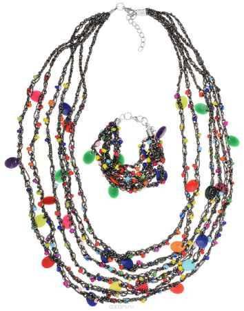 Купить Комплект украшений Fashion House: колье, браслет, цвет: мультицвет. FH33057