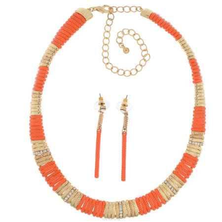 Купить Комплект бижутерии (колье, серьги) Avgad, цвет: золотистый, оранжевый. H-477S855