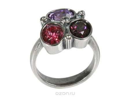 Купить Кольцо Jenavi Коллекция Дефиле Коллаж, цвет: серебряный, фиолетовый. b9653050. Размер 18