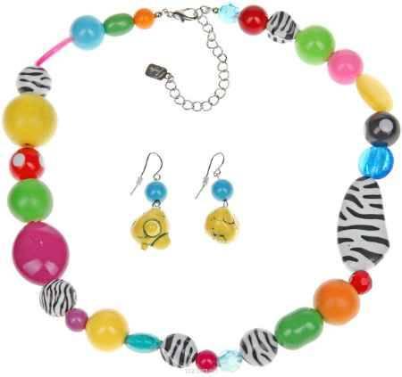 Купить Комплект украшений Avgad: колье, серьги, цвет: оранжевый, желтый, зеленый. H-477S1019