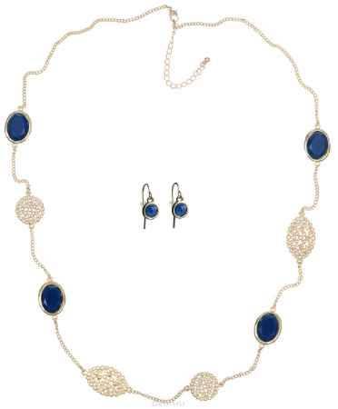 Купить Комплект украшений Taya: колье, серьги, цвет: золотистый, темно-синий. T-B-6666