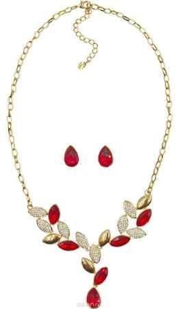 Купить Комплект украшений Taya: серьги, колье, цвет: золотистый, красный. T-B-1038
