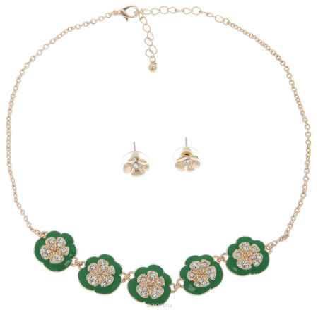 Купить Комплект украшений Avgad: колье, серьги, цвет: золотистый, зеленый. H-477S972