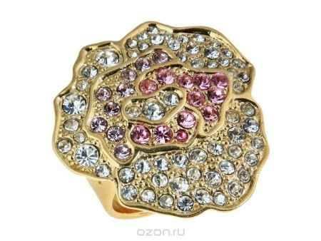 Купить Кольцо Jenavi Коллекция Презент Лино большое, цвет: золотой, мультиколор. v628p070. Размер б/р