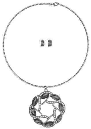 Купить Комплект украшений Fashion House: колье, серьги, цвет: темно-серый, белый. FH33046