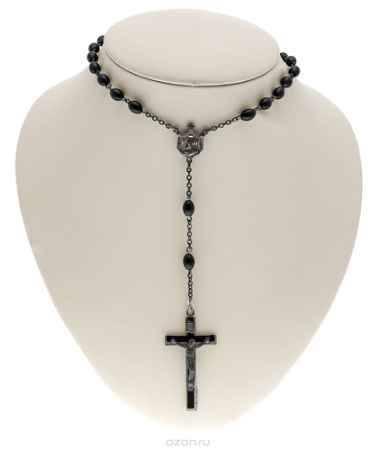 Купить Винтажный католический розарий. Металл серебряного тона, ювелирный пластик черного цвета. Италия, 1970-е годы