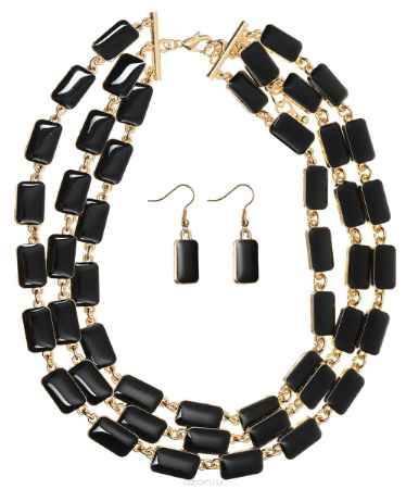 Купить Комплект украшений Happy Charms Family: колье, серьги, цвет: золотой, черный. NOAH0028