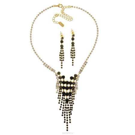 Купить Комплект украшений Avgad: колье, серьги, цвет: золотистый, темно-серый. H-477S883