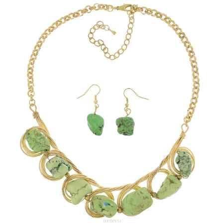 Купить Комплект бижутерии Avgad: колье, серьги, цвет: золотистый, зеленый. H-477S809