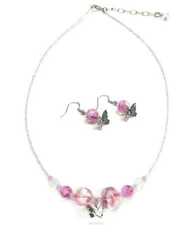 Купить Комплект украшений Bohemia Style: бусы, серьги, цвет: розовый, прозрачный. 1248 4220 07