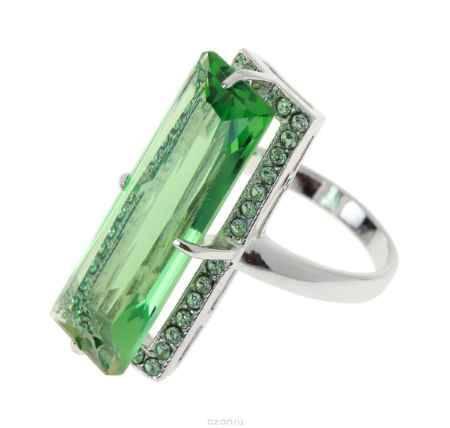 Купить Кольцо Jenavi Коллекция Подиум Креатив, цвет: серебряный, зеленый. h187f030. Размер 17