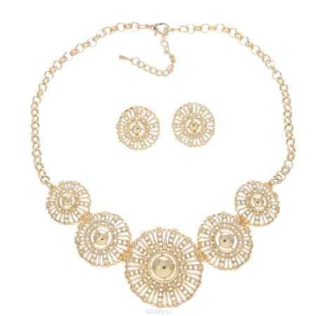 Купить Набор бижутерии Taya: колье, серьги, цвет: золотистый. T-B-10207-SET-GOLD