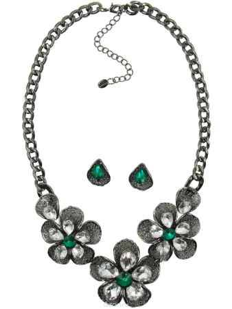 Купить Комплект украшений Taya: колье, серьги, цвет: серебристый, зеленый. T-B-10380