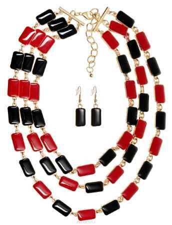 Купить Комплект украшений Happy Charms Family: колье, серьги, цвет: золотой, красный, черный. NOAH0029