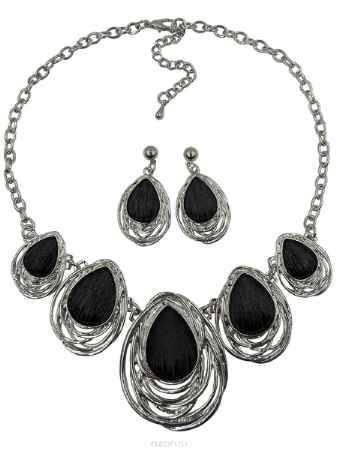 Купить Комплект украшений Taya: серьги, колье, цвет: черный, серебряный. T-B-98