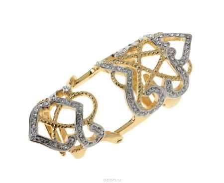 Купить Кольцо Jenavi Коллекция Binario Позио, цвет: золотой, белый. r765q000. Размер б/р