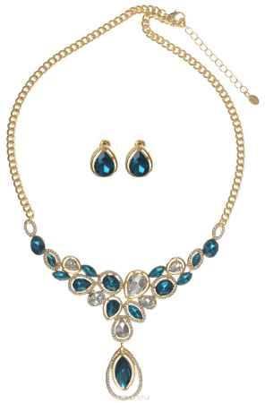 Купить Комплект украшений Taya: колье, серьги, цвет: золотистый, белый, бирюзовый. T-B-10375