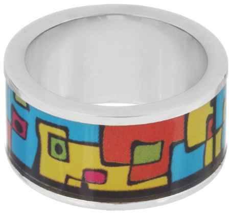Купить Кольцо Art-Silver, цвет: серебристый, голубрй, оранжевый. ФК132-1-320. Размер 17,5