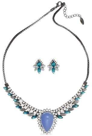 Купить Комплект Art-Silver: колье, серьги, цвет: черный, голубой. 064702-4280