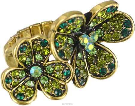 Купить Кольцо Taya, цвет: золотистый, зеленый. T-B-7329
