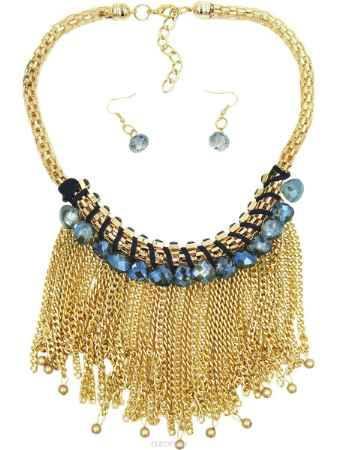 Купить Комплект украшений Taya: колье, серьги, цвет: золотистый, синий. T-B-9025