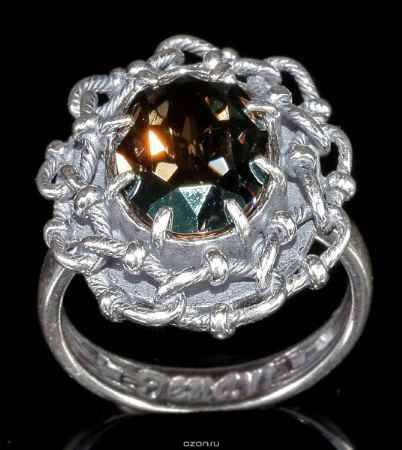 Купить Кольцо Jenavi Коллекция Форсаж Эланта, цвет: серебряный, зеленый. h0453031. Размер 17