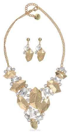 Купить Комплект украшений Taya: колье, серьги, цвет: золотистый. T-B-10222
