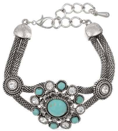 Купить Браслет Fashion House, цвет: черненое серебро, бирюзовый. FH33031