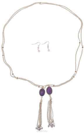 Купить Комплект украшений Avgad: колье, серьги, цвет: золотистый, сиреневый. H-477S1026