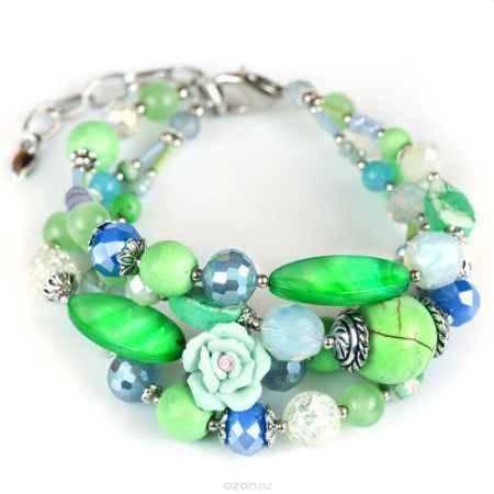 Купить Браслет женский Selena Роман с камнем Флер, цвет: светло-зеленый, синий. 40058560