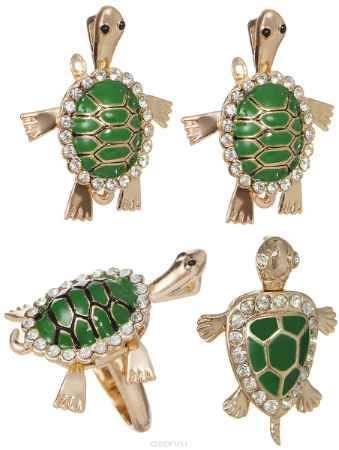 Купить Комплект украшений Fashion House: кольцо, кулон, серьги, цвет: золотой, зеленый. FH33048