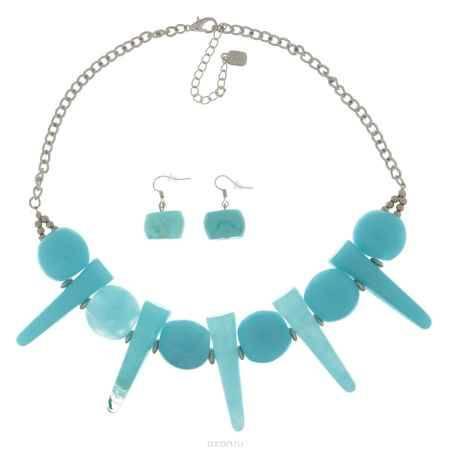 Купить Комплект Avgad: колье, серьги, цвет: серебристый, голубой. H-477S865