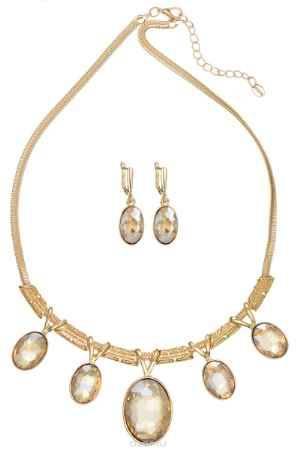 Купить Комплект украшений Taya: колье, серьги, цвет: золотистый. T-B-11508