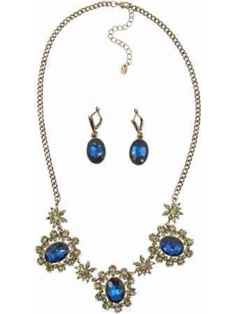 Купить Комплект украшений Taya: колье, серьги, цвет: коричневый, темно-синий. T-B-10268