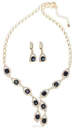 Купить Комплект украшений Taya: колье, серьги, цвет: золотистый, темно-синий. T-B-11523