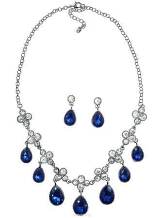 Купить Комплект украшений Taya: колье, серьги, цвет: серебристый, темно-синий. T-B-10368