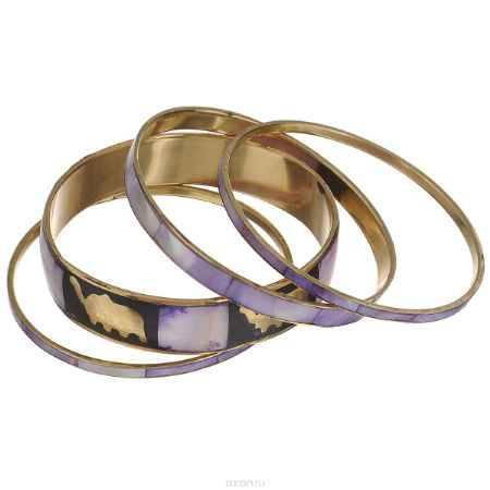 Купить Набор браслетов Ethnica, цвет: светло-фиолетовый, черный, золотой, 4 шт. 100045