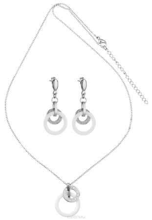 Купить Комплект Art-Silver: колье, серьги, цвет: серебряный, белый. КБ0819-1612