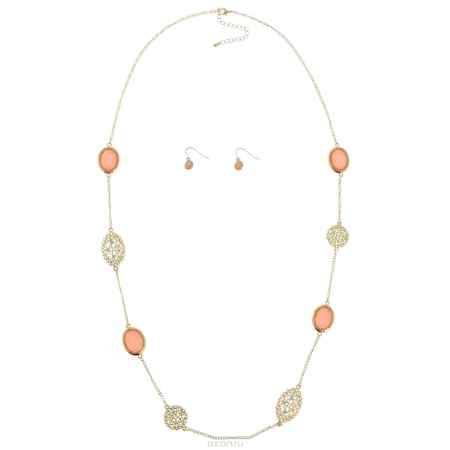 Купить Комплект украшений Taya: колье, серьги, цвет: золотистый, розовый. T-B-5227