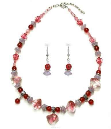 Купить Комплект украшений Bohemia Style: бусы, серьги, цвет: розовый, сиреневый, красный. 1248 4046 07