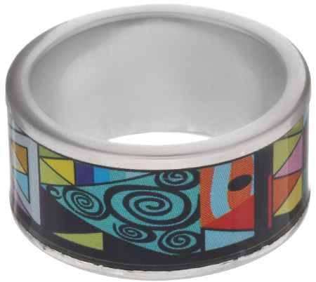 Купить Кольцо Art-Silver, цвет: серебристый, черный, голубой. ФК127-1-320. Размер 18,5