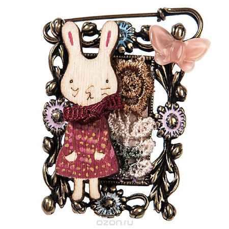Купить Брошь жен. Selena Street Fashion, цвет: золотистый, красный, розовый. 30024520